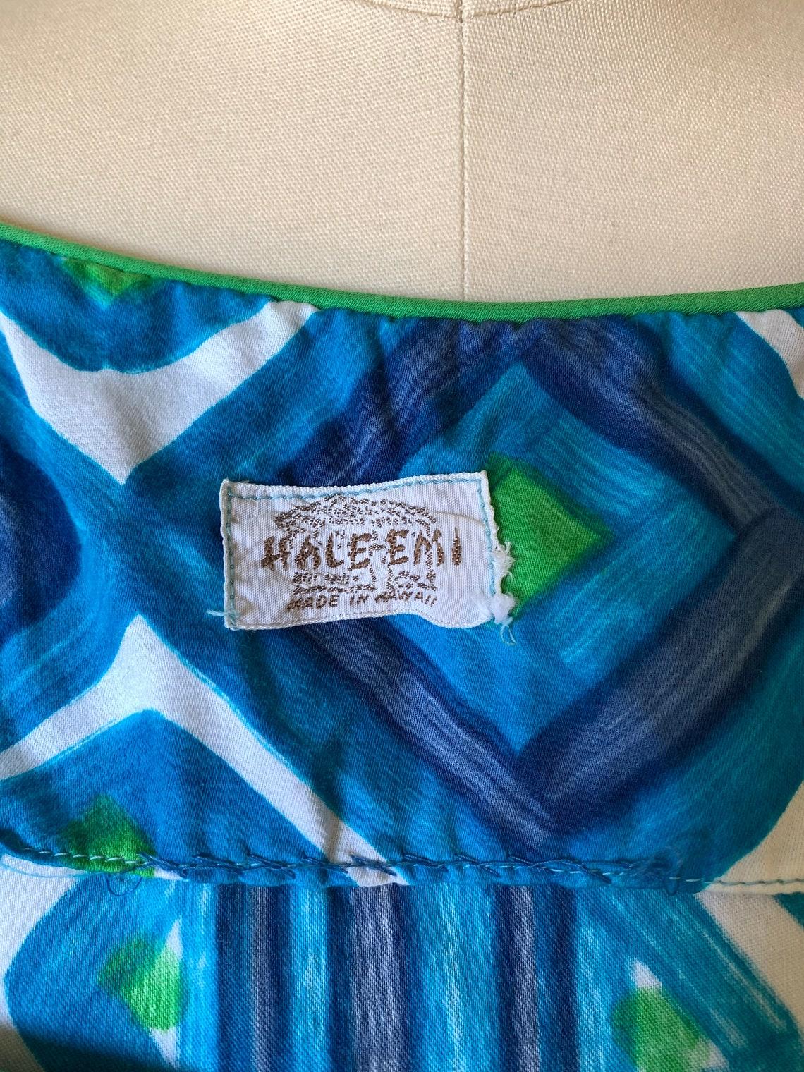 1960's Hawaiian Hale Emi Cotton Blue Geometric Print