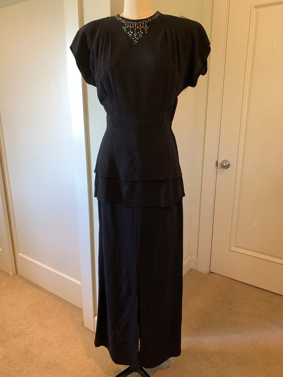 Du Barry Vintage 1940's Black Evening Gown with Do