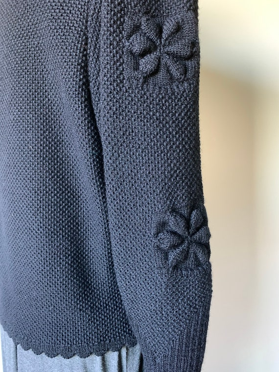 Puff Sleeve Geiger Austrian Black Wool Knit Cardig