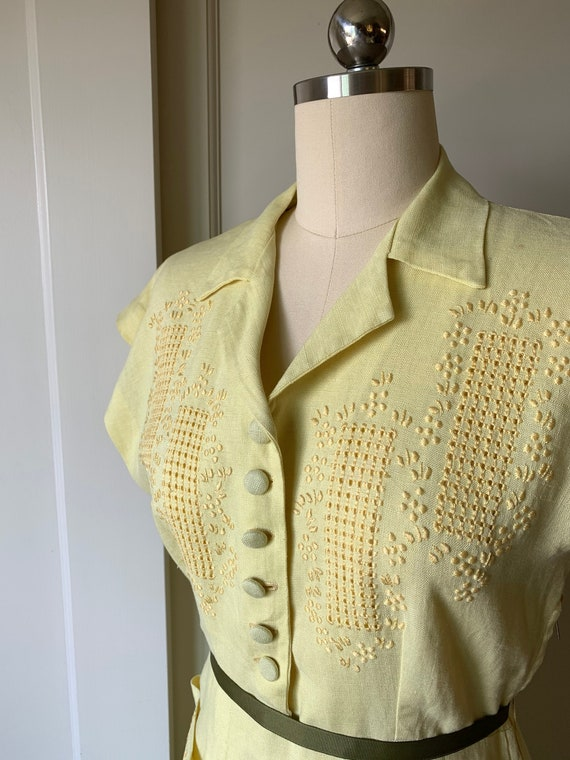 Vintage 1950's Yellow Linen Shirtwaist Dress