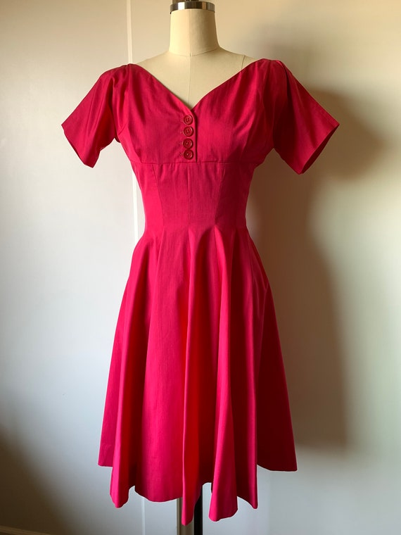 1950's Anne Fogarty Fuschia Cocktail Dress
