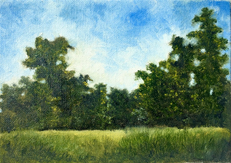 the edges and the blue sky on 5x7 canvas board Original Oil Painting feature trees A hiking memory on Shenandoah National Park