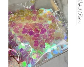 0.5 Oz Iridescent Holographic Color Shift Heart Sequins Inserts for Crafts