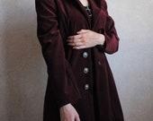 Burgundy red velvet evening jacket