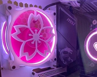 Sakura Cherry Blossom Logo Gaming Computer Fan Shroud / Grill / Cover - Custom 3D Printed - 120mm, 140mm