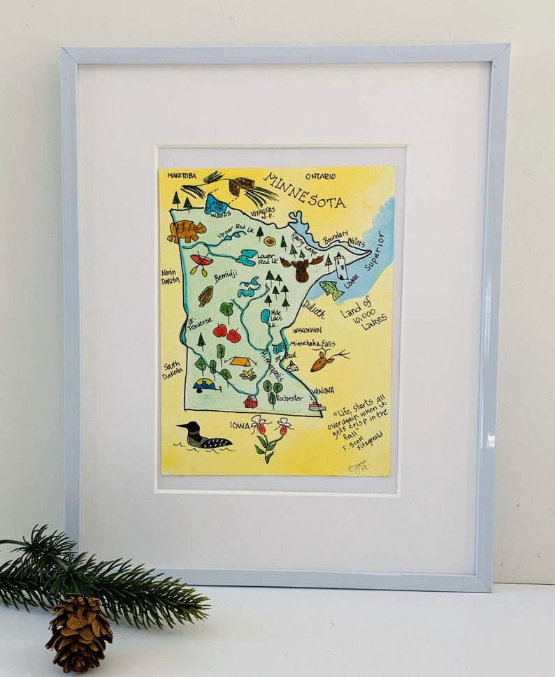 Minnesota map Minnesota tourist map pictorial map USA maps,original watercolor Minnesota state map Minnesota map gifts 5x7