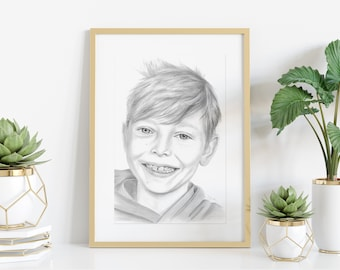 Portrait / Photo Drawing - A4 Pencil Drawing by Photo Template