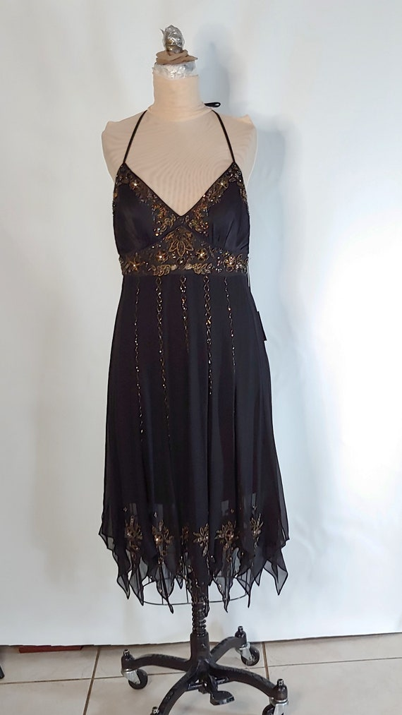 Vintage SUE WONG Black Embroidered Baby Doll Lingerie Sheer Black over Tan Mother/'s Day Gift