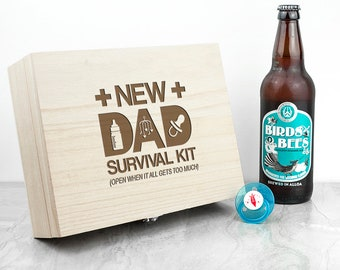Personalised New Dad Survival Kit Storage Box, Father's Day, New Baby, Keepsake for New Fathers To Be