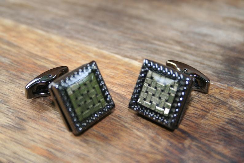 Gun Metal Cufflinks Silver cufflinks Gun Metal and Silver Square Cufflinks Square cufflinks
