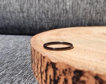 2mm Ultra Thin Black Titanium Ring