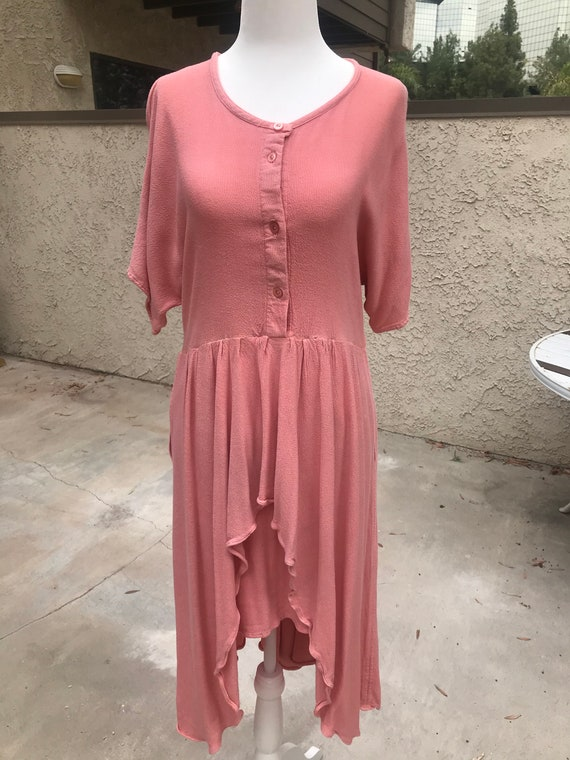 Laise Adzer Pink Boho 1980's Dress