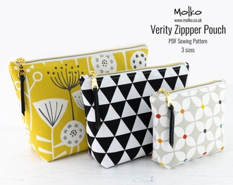 Zipper Pouch PDF Sewing Pattern / Sewing Tutorial / Toiletry Bag / Cosmetic Bag / 3 Sizes / DIY Craft / Instant Download / Project Pouch