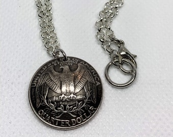1996 United States Liberty Quarter Dollar Pendant with 18 inch Silver Plated Chain and Clasp