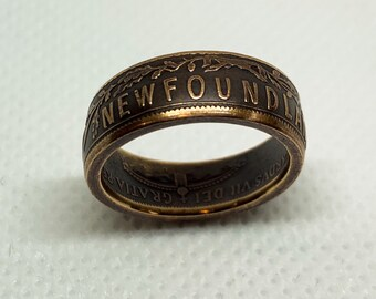 1 Cent Newfoundland coin ring. Size 5 3/4