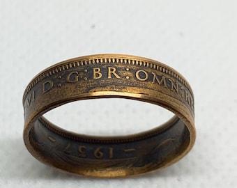 1957 Georgvis VI Half Penny Ring Size 9 1/2