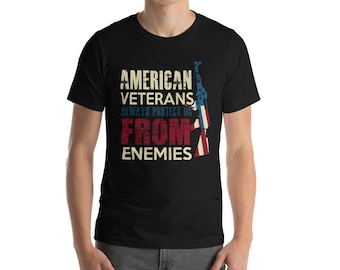 American Veteran Premium Short-Sleeve Unisex T-Shirt - Military - Armed Forces - Navy - Marines - Army - Air Force
