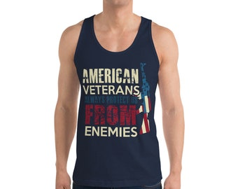 American Veterans Jersey Classic Tank Top - Military - Armed Forces - Navy - Marines - Army - Air Force