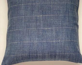 Designer blue stripe pillow cover thin white stripe with flax linen back denim block print 22 x 22 | 24 x 24 | 20 x 20 | 14 x 20| Dunn