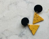 Gold With Gold Flakes and Black Triangle Polymer Clay Earrings