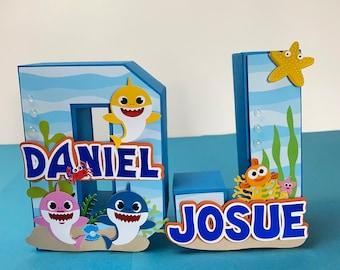 Baby Shark decoration, Baby shark birthday, Baby Shark Party Decor, Customized letters, 3D letters,
