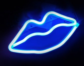 Blue Neon Sign Etsy