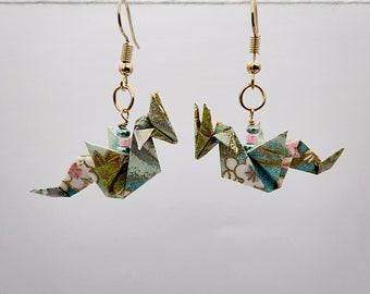 Pastel Acrylic Post Earrings Origami Gold Earrings