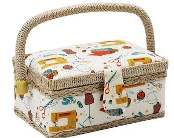 Flower Design Vintage Sewing Basket Sewing Kit Storage Box for Storage Sewing Kit Floral Printed Sewing Basket