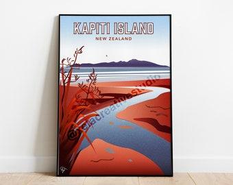 Kapiti Island Travel Poster - New Zealand Landscape