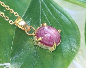 Natural heated star ruby pendants, sterling silver,gold plated