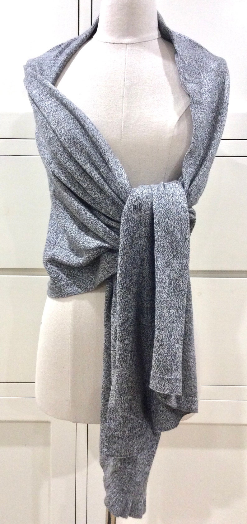 100/% Cotton Multi-way Poncho Textured GreyTravel AccessoryAll SeasonsWomen/'s wrapCover-up Gift Wrapped Gift for Her