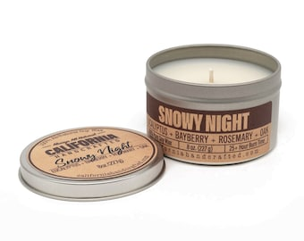 Snowy Night  Handmade Soy Candle   Eucalyptus + Bayberry + Rosemary + Oakmoss   100%  All-Natural Soy Wax   Hand Poured In California