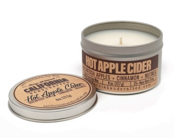 Hot Apple Cider Handmade Soy Candle   Apples + Cinnamon + Nutmeg + Cloves   100%  All-Natural Soy Wax   Hand Poured In California