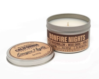 Bonfire Nights Handmade Soy Candle   Marshmallow + Oak + Smoke + Vanilla   100%  All-Natural Soy Wax   Hand Poured In California