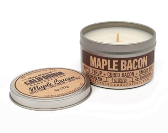 Maple Bacon Handmade Soy Candle   Maple Syrup + Bacon + Smoky BBQ    100% All-Natural Soy Wax   Small Batches Hand-Poured In California