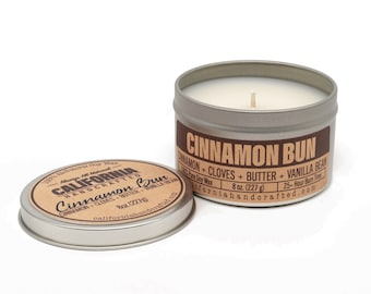 Cinnamon Bun Handmade Soy Candle   Cinnamon + Clove + Butter + Vanilla   100% All-Natural Soy Wax   Small Batches Hand-Poured In California