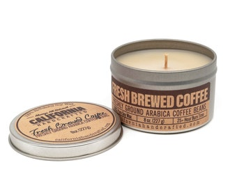 Fresh Brewed Coffee Handmade Soy Candle   Freshly Arabica Coffee Beans   100% All-Natural Soy Wax   Small Batches Hand-Poured In California
