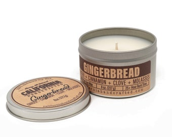 Gingerbread Handmade Soy Candle   Ginger + Butter + Graham Crackers + Cinnamon + Clove   All-Natural Soy Candles   Hand Poured In California