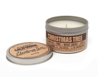 Christmas Tree Handmade Soy Candle   Balsam Fir + Pine + Wood Smoke + Apple   100%  All-Natural Soy Wax   Hand Poured In California