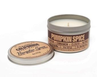 Pumpkin Spice Handmade Soy Candle   Pumpkin + Cinnamon + Cloves + Nutmeg   100%  All-Natural Soy Wax   Hand-Poured In California