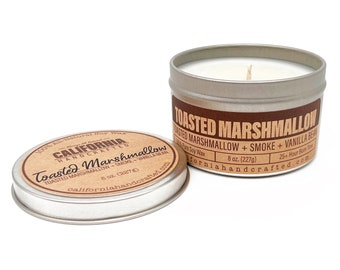 Toasted Marshmallow Handmade Soy Candle   Toasted Marshmallow + Smoke + Vanilla    All-Natural Soy Candles   Hand Poured In California