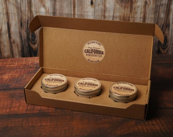 ICONIC CALIFORNIA Candle Gift Set [Big Bear - Napa Valley - Palm Springs] Three Scented Candles in a Travel Tin