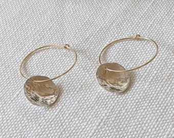 Hammered Sterling Silver Discs on Gold Filled Hoops