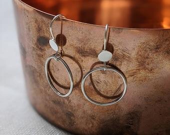 Sterling Silver Disc & Circle Drop Earrings