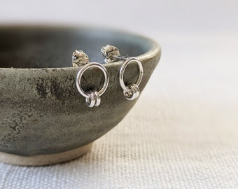 Delicate Circle Studs with Mini Loops, Sterling Silver