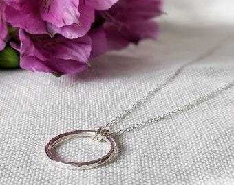 Minimalist Circle Pendant, Sterling Silver