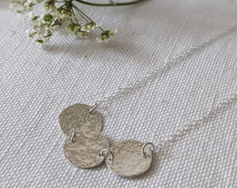 Triple Hammered Disc Sterling Silver Pendant