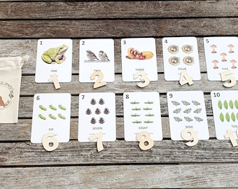 Nature Number Cards, Toddler Flashcards, Preschool, Nursery Wall Art, Early Years, Counting