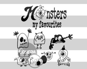 Plotterfile Monsters my favourites svg dxf Set,Monster svg,cute monsters,Monsters by CoucouChou