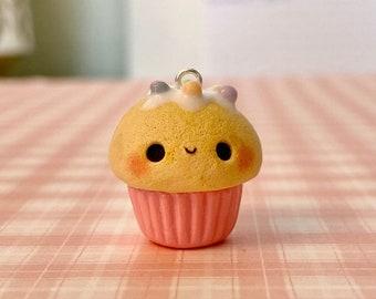 Kawaii Bee Flower Bear Cupcake Charm-Polymer Clay Cupcake Charm-Kawaii Clay Charm